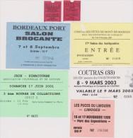 Lot De 7 Tickets D´entrées Salons Brocantes, Antiquaires Etc... - Tickets - Entradas