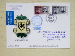 Cover From Lithuania 2001 Vilnius To USA Special Cancel Fdc Independence Day Voice Of America Broadcast The First Radio - Lithuania