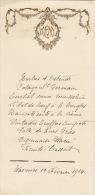 Menu Ancien Gaufré Wasmes Février 1914 - Menus