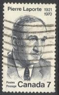 Canada. 1971 1st Anniv Of Assassination Of Pierre Laporte. 7c Used. SG 691 - 1952-.... Reign Of Elizabeth II
