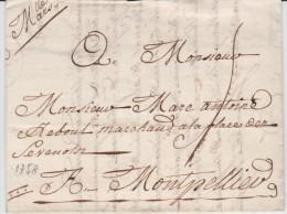 Marque Postale De Marseille (Bouches Du Rhône) De 1758 Manuscrit Tm5 - Marcophilie (Lettres)