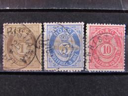 """NORUEGA -1877- """"Cuerno De Correos"""" 3 Val. US° (descrizione) - Usati"""
