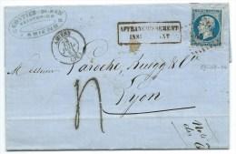 TAXE N° 14 BLEU NAPOLEON SUR LETTRE / AMIENS POUR LYON / 29 JUIL 1861 AFFRANCHISSEMENT INSUFFISANT - 1849-1876: Klassik