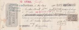 30/3/1892 MANUEL POC Ex BRAULIO POC Denrées Coloniales BORDEAUX Pour Gourdon Lot - Lettres De Change