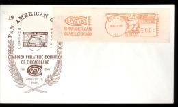 COMPEX  3RD DAY 1959 CHICAGO -  PAN AMERICAN GAMES -  NICE ORANGE MACHINE CANCELLATION - ON STICKER - Enveloppes évenementielles