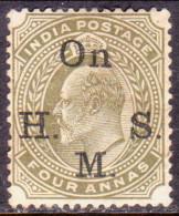 INDIA 1902 SG #O60 4a MNG Official CV £32 - India (...-1947)