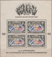 """HONDURAS Block 3A(468-C468) """"75 Jahre Weltpostverein U.P.U./75 Aniversario/1874-1949"""" MNH / ** / Postfrisch - Honduras"""