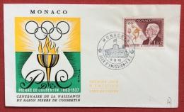 PIERRE DE COUBERTIN  EMISSIONE MONACO  1963  SU BUSTA  OLIMPICA - Juegos Olímpicos