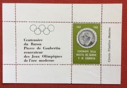 PIERRE DE COUBERTIN  FOGLIETTO DEL CENTENARIO 1863 - 1963  CIRCOLO FILATELICO MESTRINO - VERDE - Jeux Olympiques