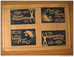 HUNGARY Budapest 1937 Perforated 4 Poster Stamp Label Vignette Viñeta - Hongrie