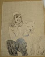 Dessin Au Crayon 1951-femme Et Son Chien  (1) - Dessins
