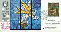 012 Carte Officielle Exposition Internationale Exhibition Mainz 1985 France Marc Chagall Art Cathédrale De Strasbourg - Glasses & Stained-Glasses