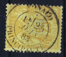 Monaco, Timbre De France 1883  25 C Bistre, Has A Thin Spot - Monaco