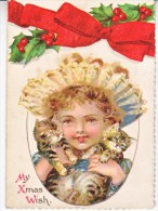 VICTORIAN  ERA  1880's   CHRISTMAS  CARD  BAVARIA  CATS - Christmas