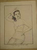 Dessin Au Crayon 1951- Faith Domergue Née à La Nouvelle-Orléans Le 16 Juin 1924 (1) - Drawings