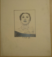 Dessin Au Crayon 1951- Jeune Femme  (1) - Dessins