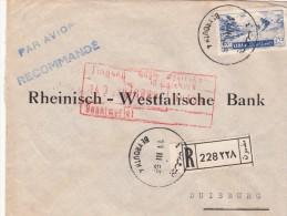 1955. LETTRE RECOMMANDÉ BANQUE MISR-SYRIE-LIBAN. 65P.  BEYROUTH POUR RHEINISCH-WESFALISHCHE BANK DUISBURG / 7140 - Liban