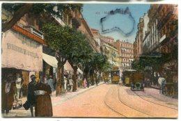 - 437 - ALGER - Rue D´Isly - Belle Animation, Tramway,  Attelage, Brasserie, écrite En 1929, BE, Scans. - Alger