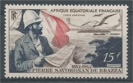 French Equatorial Africa (AEF), Pierre Savorgnan De Brazza, French Explorer, 1951, MH VF  Airmail - A.E.F. (1936-1958)