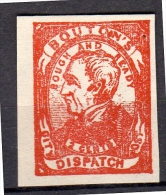 City Dispatch Post BOUTON'S Rough And Ready 2 Cents Mint No Gum (I Don't Know What It Is) (U15) - United States