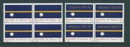 Nauru 1969 Flag & 1973 Independence Overprint Blocks Of 4 MNH - Nauru