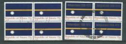 Nauru 1969 Flag & 1973 Independence Overprint Blocks Of 4 FU - Nauru
