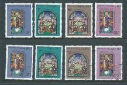 Nauru 1975 Christmas Stained Glass Windows Set Of 4 Both MNH & FU - Nauru