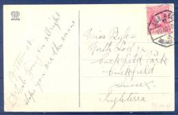1908 , CANTABRIA , TARJETA POSTAL CIRCULADA ENTRE SANTANDER E INGLATERRA , MAT. AMBULANTE ASC. SANTANDER - MADRID - 1889-1931 Reino: Alfonso XIII