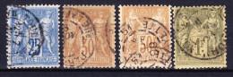 FRANCE TYPE SAGE II 1876-78 YT N° 79, 80 Et 82 Obl. - 1876-1898 Sage (Type II)