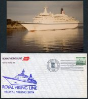 1980 Norway Boston USA Paquebot M/S Royal Viking Sky Ship Cover + Photo - Norway