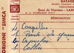 Lot 3 Factures SIMCA SERVICE 1964 GARAGE VITRE LANNION Quai De Viarmes - Automobile