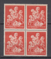 1943 BLOC DE 4 TIMBRES ALLEMAGNE DEUTSCHES III REICH 776 ** MH Secours D´hiver Mère Enfants - Unused Stamps