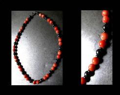 Collier Corail Véritable Et Hématite /Vintage CCoral And Hematite Necklace - Necklaces/Chains