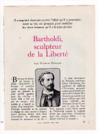 """Bartholdi Sculpteur, Créateur De""""La Liberté Statue Géante Du Patrimoine National Américain""""par Nicolas Poulain,Condensé - Vieux Papiers"""