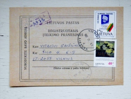 Registered Service Message From Lithuania Delivery Notification 1997 Vilnius Olympic Games Art Painting Ciurlionis - Lithuania