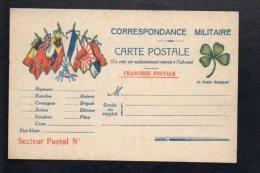 Militaria,GG 14/18.Carte Postale Correspondance Militaire En Franchise Militaire Vierge,trèfle 4 Feuilles Porte Bonheur - Guerre 1914-18