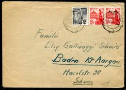 OCCUPATION FRANCAISE EN ALLEMAGNE - BADE N° 1 + 8 (2) SUR LETTRE DE FREIBURG LE 16/12/1947 POUR LA SUISSE - TB - Zone Française