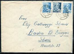 OCCUPATION FRANCAISE EN ALLEMAGNE - BADE N° 3 + 7 (2) SUR LETTRE DE FREIBURG LE 12/1/1948 POUR LA SUISSE - TB - Zone Française