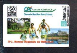 Télécarte Prépayée Intercall  50 Unités D'appel (sans Code  000000 ! ) Crédit Agricole Charente Maritime Deux Sèvres - Frankrijk