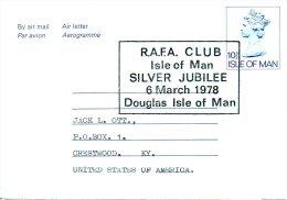 ILE DE MAN. Aérogramme Avec Oblitération De 1978. R.A.F.A. Douglas IOM - Silver Jubilee. - Isle Of Man