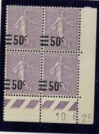 CD0127    N°223 - 50c Sur 60c Violet Semeuse - Coin Daté 10/6/25 ** Variété : Surcharge à Cheval