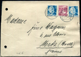 OCCUPATION FRANCAISE EN ALLEMAGNE - RHENO-PALATIN N° 32 (2) + 35 OBL. HOHR-GRENZHAUSEN LE 24/12/1949 POUR METZ - TB - Zone Française
