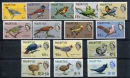 1965- MAURITIUS - BIRDS-OISEAUX- 15 VAL. M.N.H. -LUXE !! - Mauritius (1968-...)