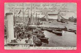 ANGLETERRE LONDRES, Tower-Bridge, Animée, Bateaux,  1904