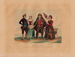1851 - Gravure Sur Acier Réhaussée à L'aquarelle - Costumes De Corse - FRANCO DE PORT - Estampes & Gravures
