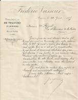 AMIENS FREDERIC VASSEUR MANUFACTURE DE VELOURS LAINAGES MAISON FONDEE EN 1853  TRAITE ANNEE 1889 LETTRE ET ENVELOPPE - France