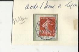 1 Timbre_ Tampon Convoyeurs-_Aoste-Saint-Genix--a--Lyon Semeuse 10 Cts __Aller - Poststempel (Einzelmarken)