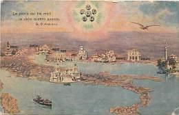 ITALIA: LA PATRIA DAI TRE MARI E DALLE QUATTRO SPONDE: FRASE DI D'ANNUNZIO E SUGGESTIVA ILLUSTRAZIONE.NON VIAGGIATA - Mapas