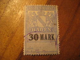 BADEN Kostenmarke 30 Mark Revenue Fiscal Tax Postage Due Official GERMANY - Baden