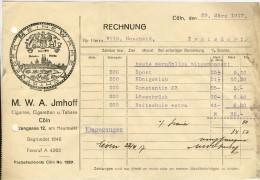 M W A IMHOFF  CIGARETEN U. TABAKE FABRIK COLN 1917 - Cigarettes - Accessoires